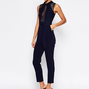 Navy collared jumpsuit